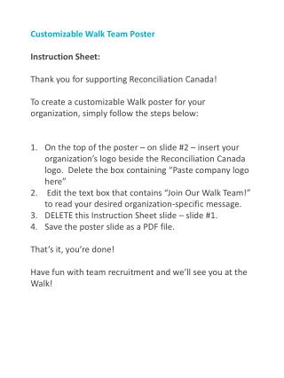 Customizable Walk Team Poster Instruction Sheet: Thank you for supporting Reconciliation Canada!