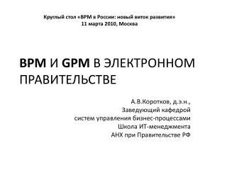 BPM И  GPM  В ЭЛЕКТРОННОМ ПРАВИТЕЛЬСТВЕ