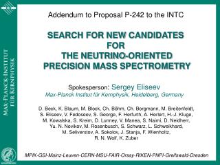 Addendum to Proposal P-242 to the INTC