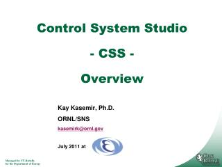 Control System Studio  - CSS -  Overview