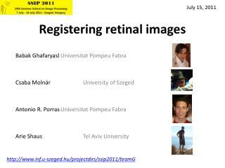 Registering retinal images