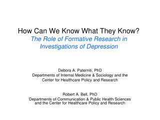 How Can We Know What They Know? The Role of Formative Research in Investigations of Depression