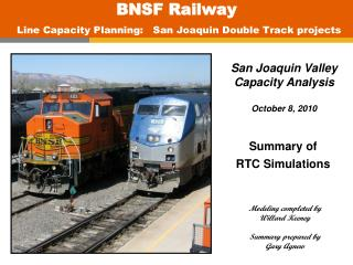 BNSF Railway Line Capacity Planning:   San Joaquin Double Track projects