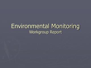 Environmental Monitoring Workgroup Report