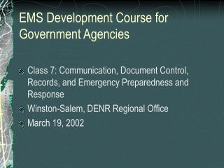 EMS Development Course for Government Agencies