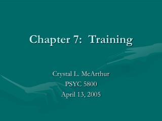 Chapter 7:  Training