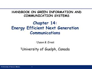 Chapter 14:  Energy Efficient Next Generation Communications