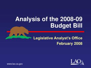 Analysis of the 2008-09 Budget Bill