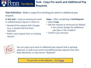 Task:  Copy Pre-work and Additional Pay Requests