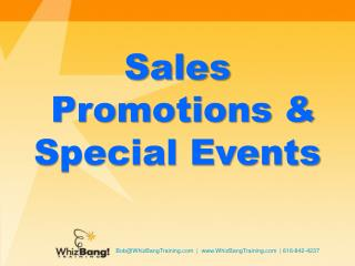 Sales  Promotions & Special Events