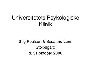 Universitetets Psykologiske Klinik