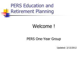 PERS Education and Retirement Planning