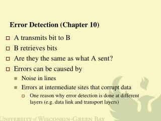 Error Detection (Chapter 10)