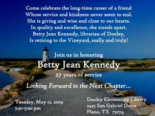 Come celebrate the long-time career of a friend Whose service and kindness never seem to end.