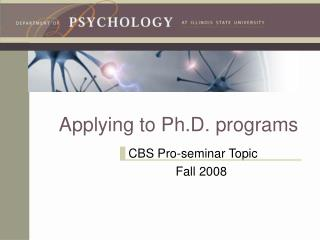 Applying to Ph.D. programs