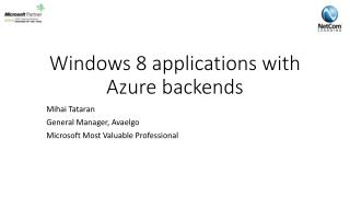 Windows 8 applications with Azure  backends
