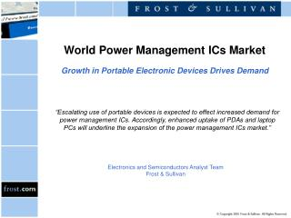 World Power Management ICs Market Growth in Portable Electronic Devices Drives Demand