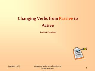 Changing Verbs from  Passive  to Active Practice Exercises