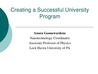 Creating a Successful University Program