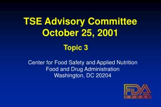 TSE Advisory Committee October 25, 2001