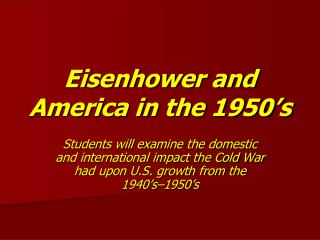Eisenhower and America in the 1950's
