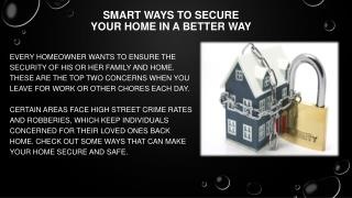 Smart Ways to Secure Your Home