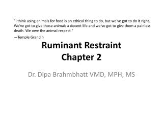 Ruminant Restraint  Chapter 2