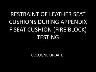 RESTRAINT OF LEATHER SEAT CUSHIONS DURING APPENDIX F SEAT CUSHION (FIRE BLOCK) TESTING