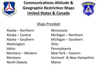 Communications Altitude & Geographic Restriction Maps United States & Canada