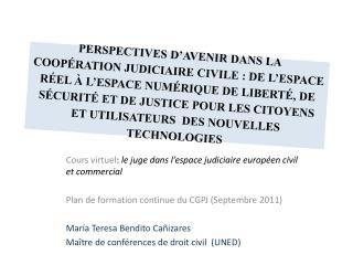 Cours virtuel :  le juge dans l'espace judiciaire européen civil et commercial