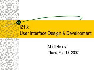 i213:  User Interface Design & Development