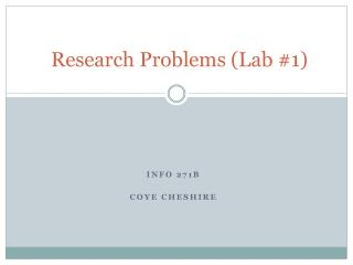 Research Problems (Lab #1)