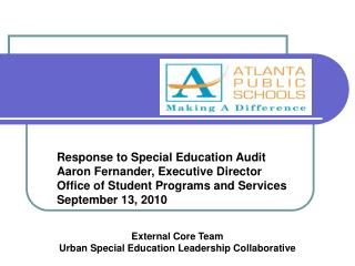 Response to Special Education Audit Aaron Fernander, Executive Director