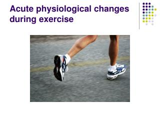Acute physiological changes during exercise