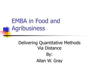 EMBA in Food and Agribusiness