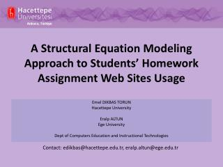 A Structural Equation Modeling Approach to Students� Homework Assignment Web Sites Usage