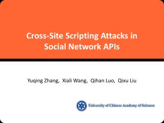 Cross-Site Scripting Attacks in  Social  Network  APIs