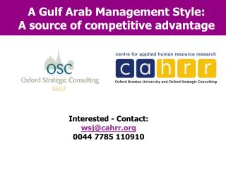 A Gulf Arab Management Style: A source of competitive advantage