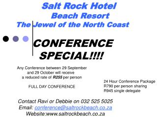 Salt Rock Hotel            Beach Resort       The Jewel of the North Coast
