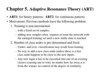 Chapter 5.  Adaptive Resonance Theory (ART)
