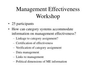 Management Effectiveness Workshop