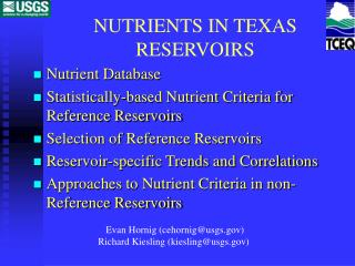NUTRIENTS IN TEXAS RESERVOIRS