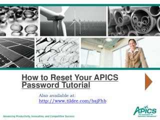 How to Reset Your APICS Password Tutorial