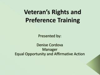 Veteran's Rights and Preference Training