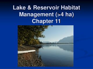 Lake & Reservoir Habitat Management (>4 ha) Chapter 11