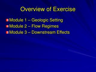Overview of Exercise