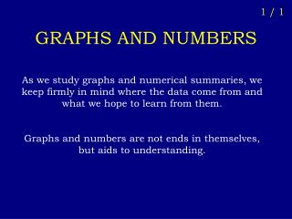 GRAPHS AND NUMBERS
