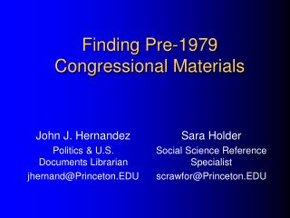 Finding Pre-1979  Congressional Materials
