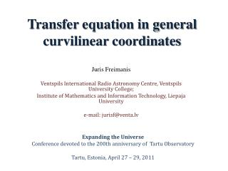 Transfer equation in general curvilinear coordinates