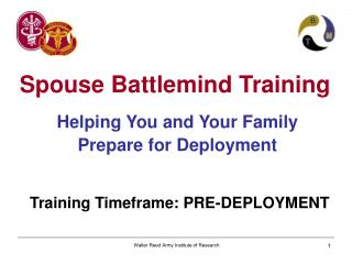 Helping You and Your Family Prepare for Deployment Training Timeframe: PRE-DEPLOYMENT